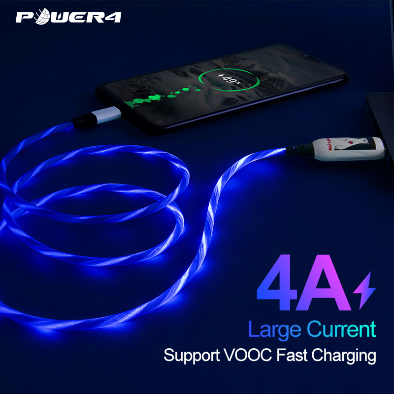 Power4 Light Up Micro USB Cable For Huawei Xiaomi Nokia Samsung 4A 1 m Quick Charging OPPO VIVO Glowing