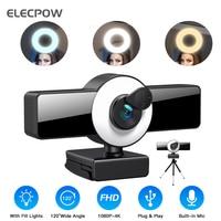 Elecpow Webcam 4K 2K Volle HD Web Cam Mit Mikrofon USB Stecker LED Füllen Licht Ring Mini Kamera für PC Laptop Video Youtube Live