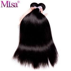 Image 2 - Malezya düz saç demetleri ile kapatma Remy insan saçı postiş dantel kapatma ile 3 demetleri örgü kapatma ile kapatma