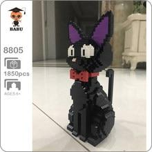Babu 8806 dos desenhos animados jiji gato preto sentar animal de estimação 3d modelo 1780 pçs diy diamante mini blocos de construção tijolos brinquedo para crianças sem caixa