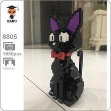 Babu 8806 karikatür JiJi siyah kedi oturmak hayvan Pet 3D modeli 1780 adet DIY elmas Mini yapı taşları tuğla oyuncak çocuklar için hiçbir kutu