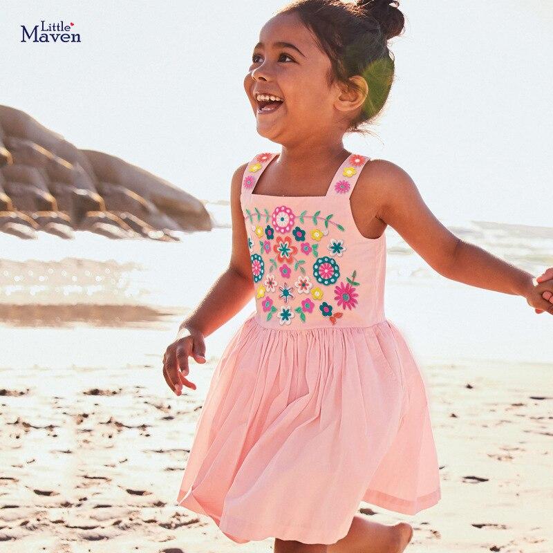 Little Maven Dress Girls 2020 Summer Clothes Floral Applique Summer Princess Cotton Dresses Flower Print Cotton Party Dresses