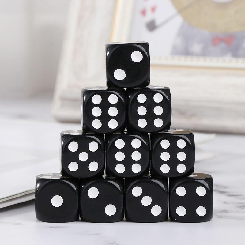 10 pces 16mm acrílico dados preto/branco 6 tomou partido casino poker jogo barra festa dados multi lados dados para o jogo de tabuleiro