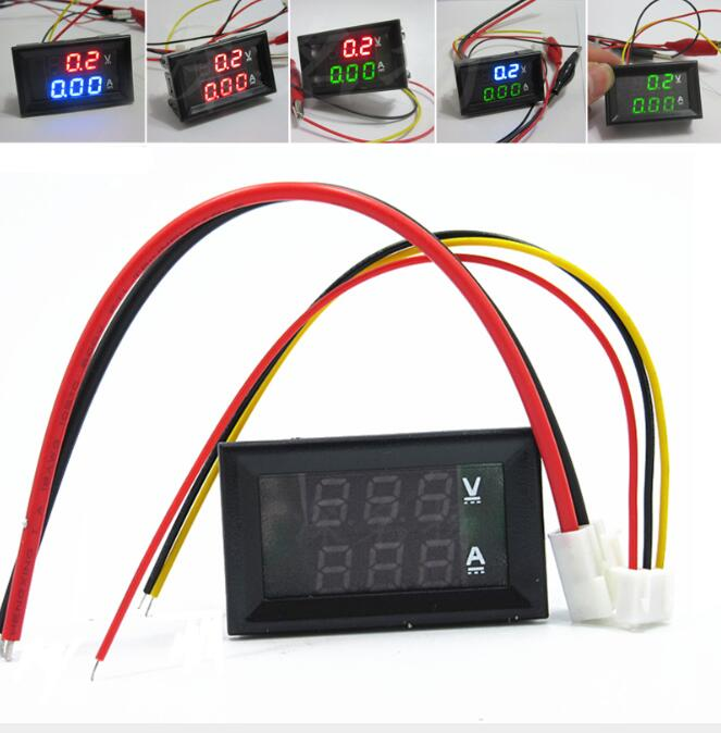 <font><b>DC0</b></font>-<font><b>100V</b></font> 10A Digital Voltmeter Ammeter Dual LED Display Current Voltage Meter For Car Motorcycle Modification 12V 24V 48V image
