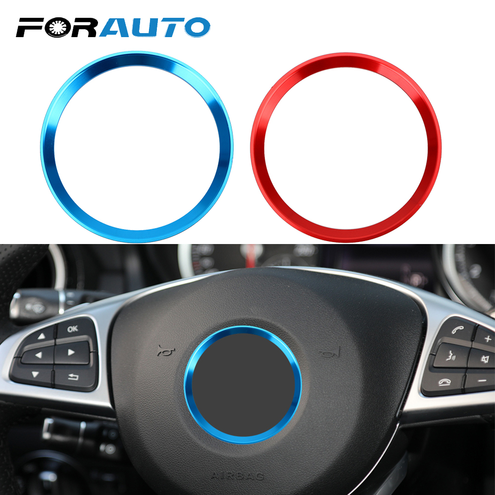 Blue and Red Color : Blue Steering Wheel Trim 1 PC of Car Steering Wheel Ring Cover Trim for Mercedes Benz CLA GLK A Class W204 W246 W176 W117.