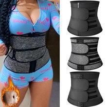 Aço desossado cintura trainer mulheres barriga moldar trimmer cinto neoprene corpo shaper barriga suor shapewear emagrecimento bainha espartilho