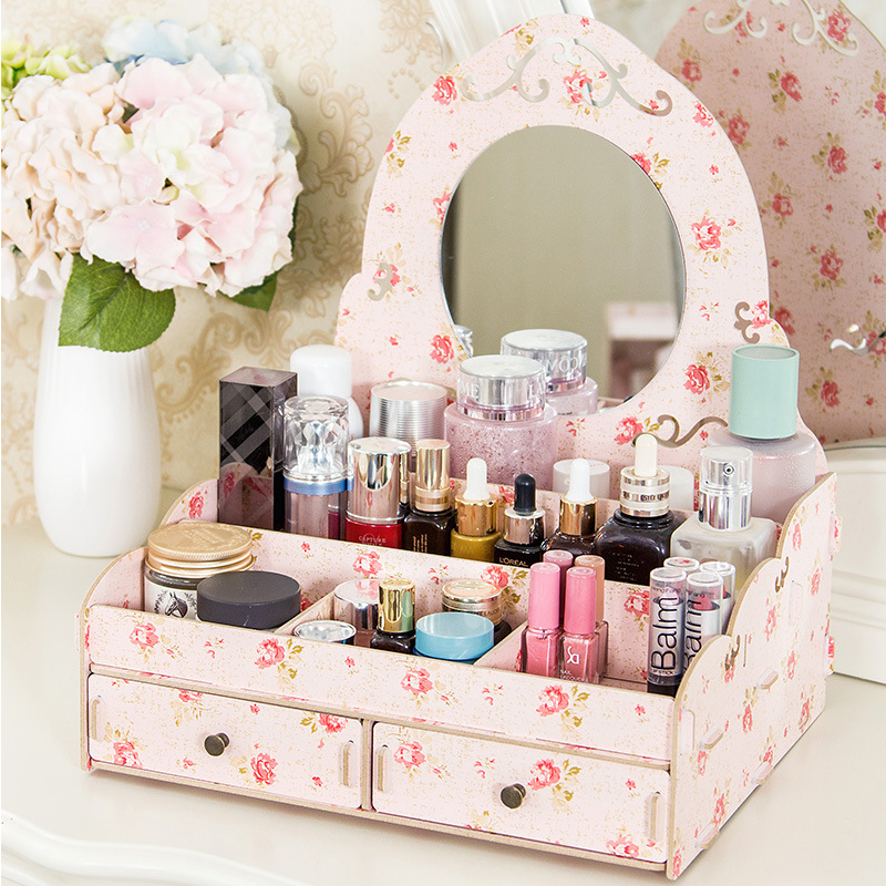 PVC Wood Plastic Board Cosmetic Box With Mirror Skin Care Products Jewelry Box Drawer Cosmetic Storage Box Makeup Organizer