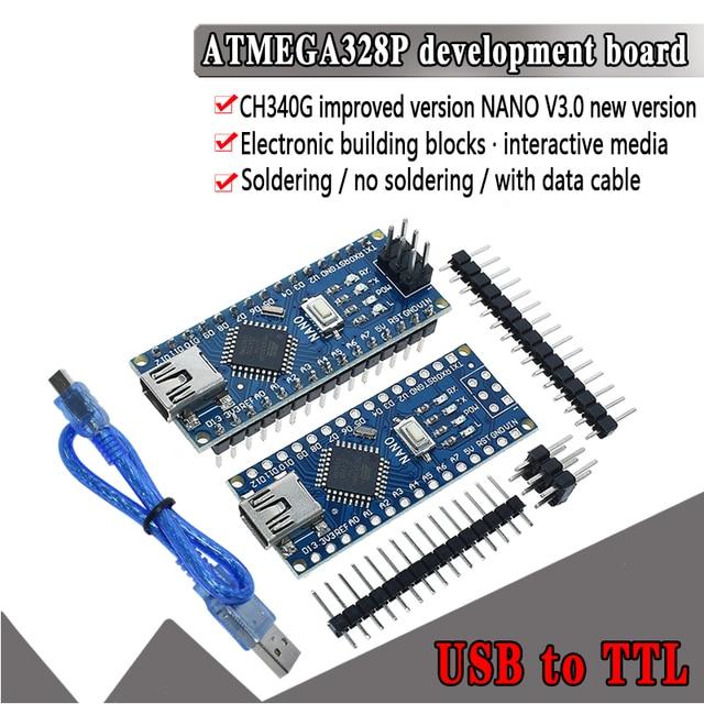 1PCS Promotion For arduino Nano 3.0 Atmega328 Controller Compatible Board WAVGAT Module PCB Development Board without USB V3.0