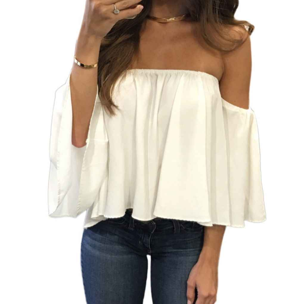 Spring Summer Fashion Stylish Women Off Shoulder Casual Blouse Shirt Tops Strapless Pure Solid Color Bell Puff Sleeve Tops