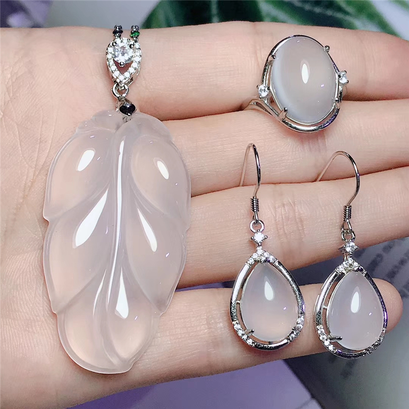 Jadery Charms Natural White Leaf Chalcedony Jade Jewelry Sets For Women 925 Sterling Silver Necklace/Earrings/Ring 2019 Gifts