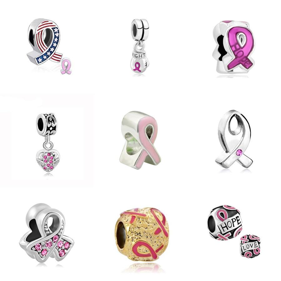 PH PandaHall 12 PCS Silver Plated Breast Cancer Awareness Pink Ribbon Dangle Charm European Style Beads Charm