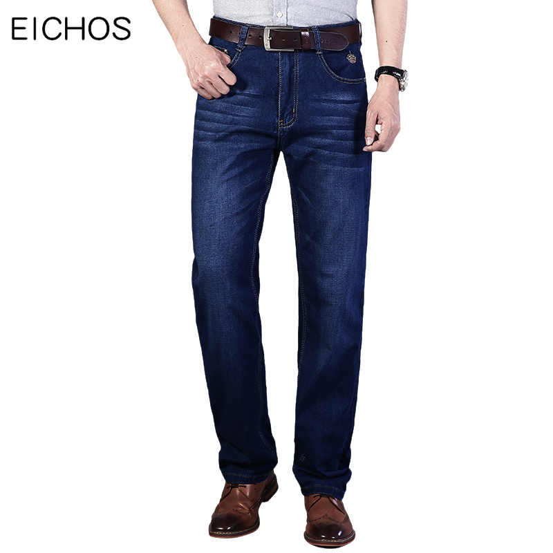 Men Business Jeans Stretch 2020 Classic Style Regular Denim Pants Casual Jeans For Men Dark blue Overalls Slim Fit Trousers