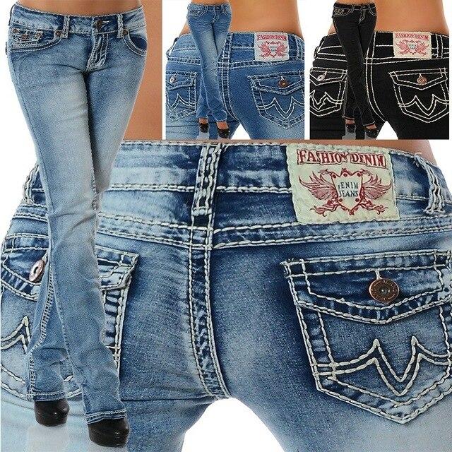Pantalones de tubo de cintura alta para mujer, vaqueros con bordado de hilo grueso, moda Sim, pantalón largo Sexy, cintura elástica, 2020 1
