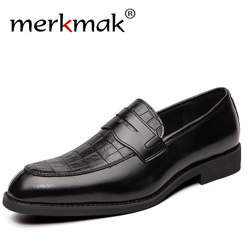 Merkmak British Style Casual Shoes Classic Men Dress Shoes Business Wedding Formal Footwear Big Size 48 Comfortable Men Loafers