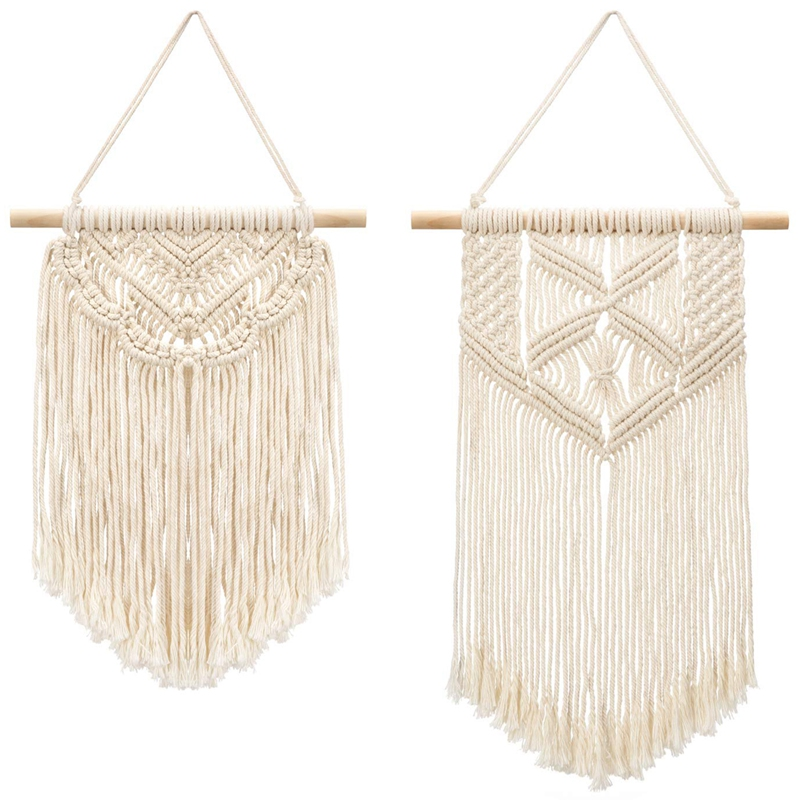 New 2 Pcs Macrame Wall Hanging Small Art Woven Wall Decor Boho Chic Home Decoration For Apartment Bedroom Living Room Gallery, 1