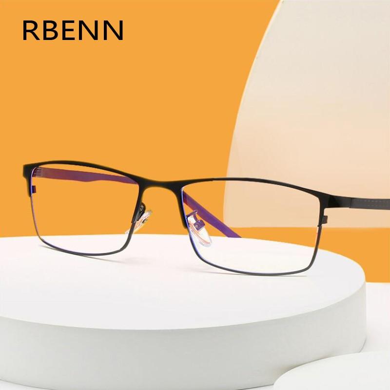 RBENN Stainless Steel Full Frame Reading Glasses Men Anti Blue Light Metal Business Presbyopia Optical Eyegalsses +0.75 1.5 1.75