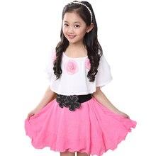 Summer 2019 Girl New Casual Chiffon Dress Girls Clothes Pearl Flowers Dresses Vestido Infantil Kids Floral Dress Clothes 4-12T недорого