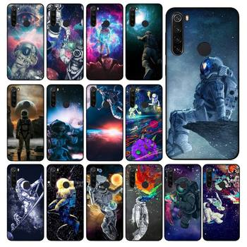 YNDFCNB Trippy Art aesthetic Space astronaut Soft Black Phone Case for Xiaomi Redmi 5 5Plus 6 6A 4X 7 8 Note 5 5A 7 8 8Pro image