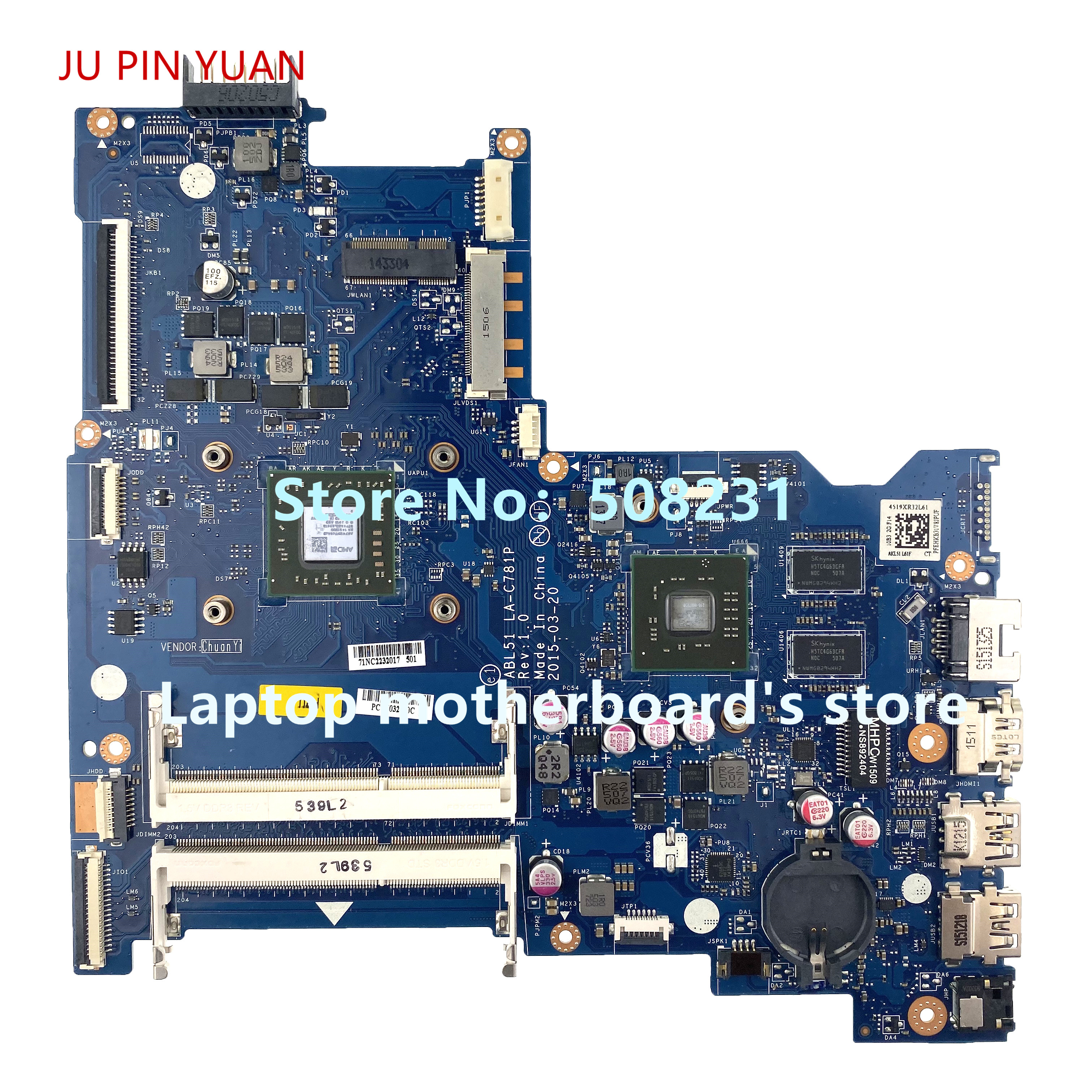 JU PIN YUAN  For Hp 15-AF Motherboard 813971-601 813971-501 813971-001 ABL51 LA-C781P A8-7410 2G  100% Fully Tested