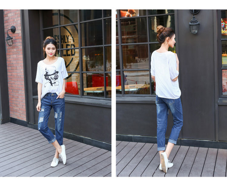 2018 Autumn And Winter Korean-style New Style Large Size Loose Fashion With Holes Capri Pants Harem Jeans Women's