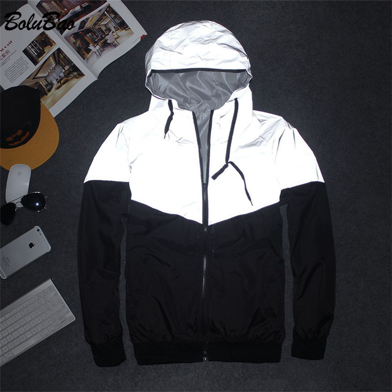 BOLUBAO Trend Brand Men Reflective Jackets Coats Men's Patchwork Fashion Jacket Luminous Windproof Hooded Jacket Male
