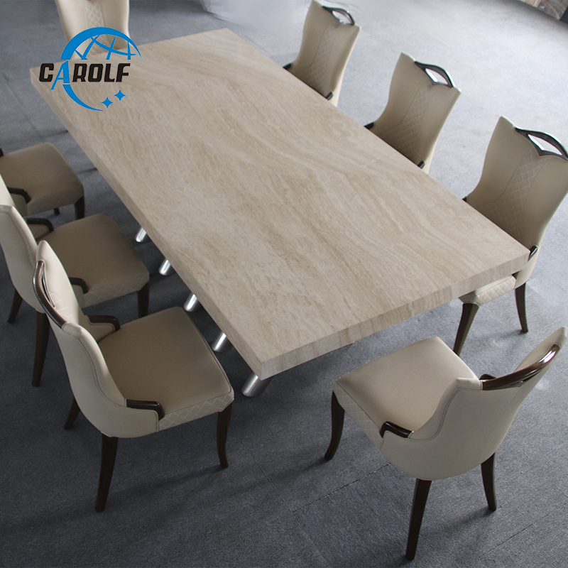 Customized Table Restaurant Simple Modern Furniture 10 Seater Large Rectangular Marble  Dining Table With Stainless Steel