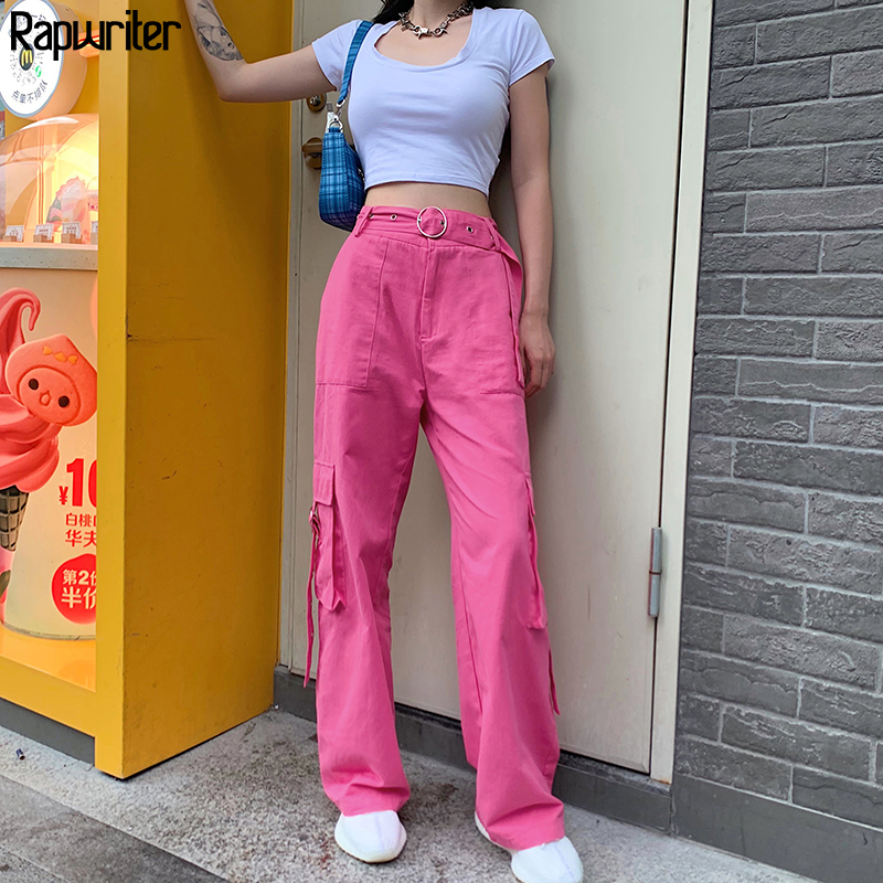 Rapwriter Streetwear Loose Sashes Straight Pant Women 2020 High Waist Trousers Full Length Cargo Pant Pink Buttons Capris Pocket