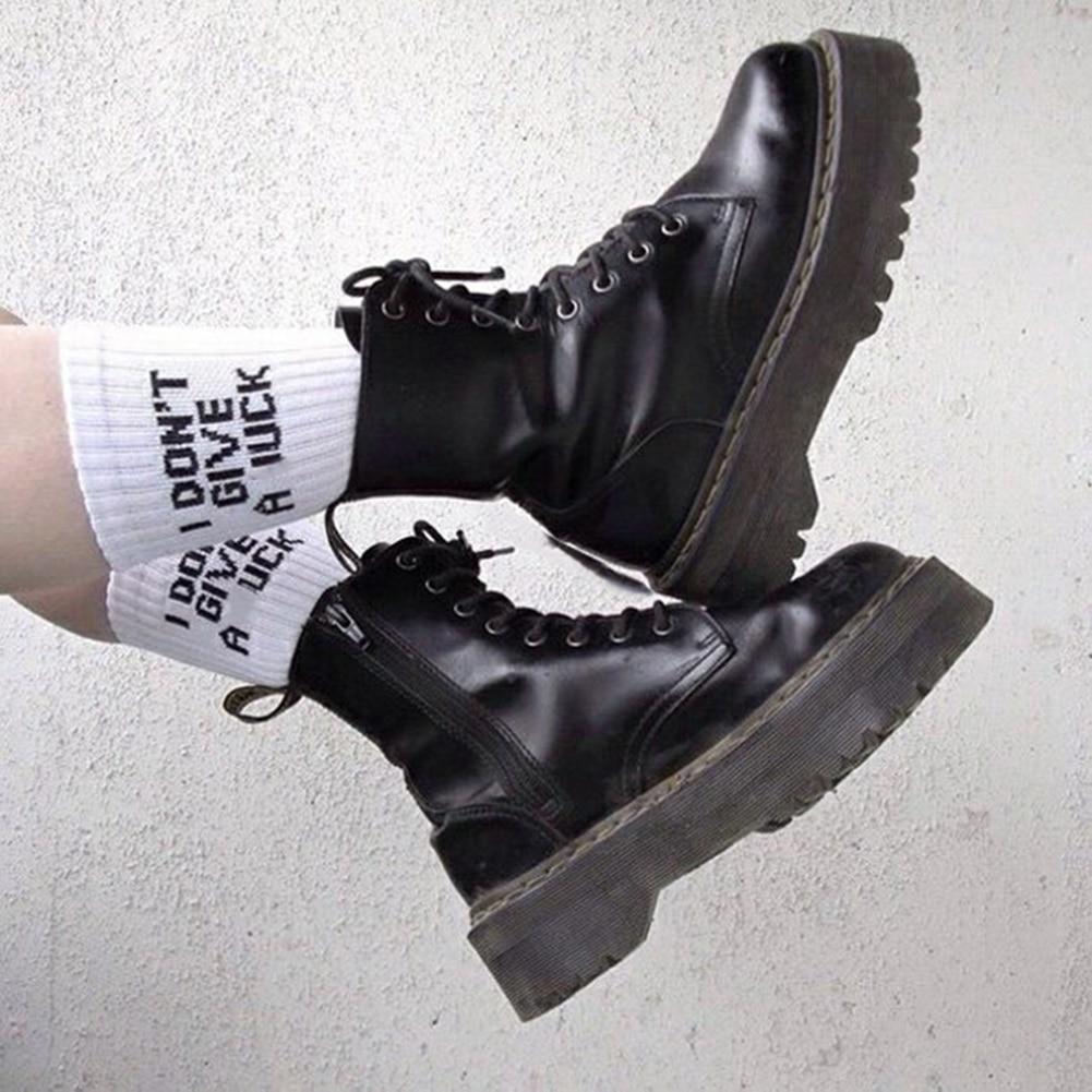 Autumn Winter Funny Socks Women Cotton Cartoon Cute Socks Long Letter Harajuku Socks Ladies Thick White Warm Letter