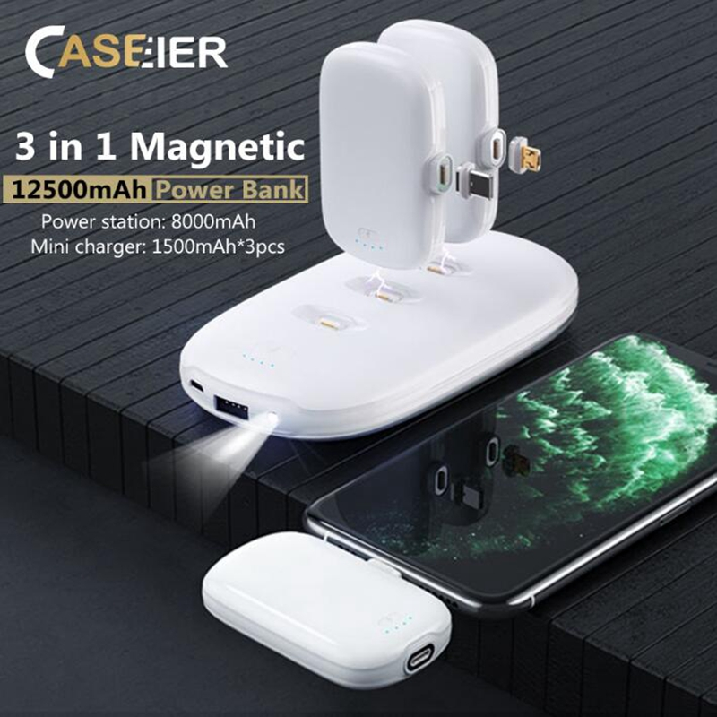 CASEIER 3 in 1 Magnetic 12500mAh <font><b>Power</b></font> <font><b>Bank</b></font> For <font><b>Xiaomi</b></font> iPhone Samsung Mini Multi-Charging Powerbank For Huawei Honor Poverbank image
