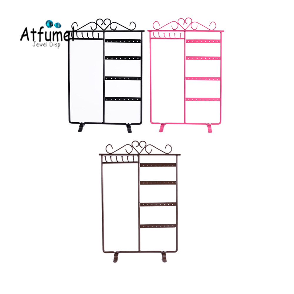 Metal 32 Hole 6 Hooks Earring Necklace Jewelry Display Holder Ring Bracelet Pendant Stud Jewelry Organizer Hanger Earring Stand
