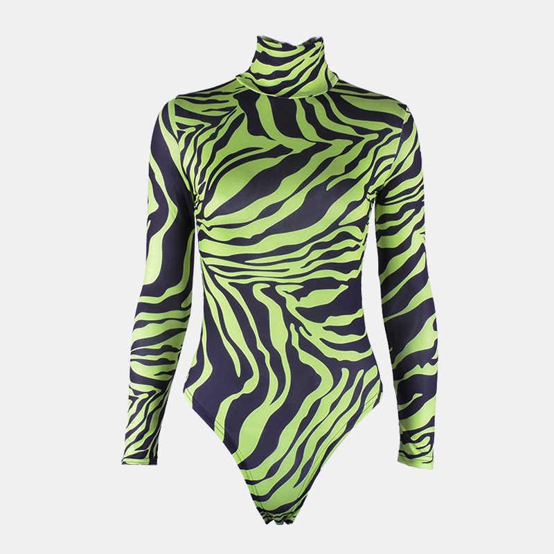 2019 mono Sexy mujer cuello alto cebra estampado Animal neón verde caliente Rosa cuello alto traje de una pieza ajustado Bodycon Tops