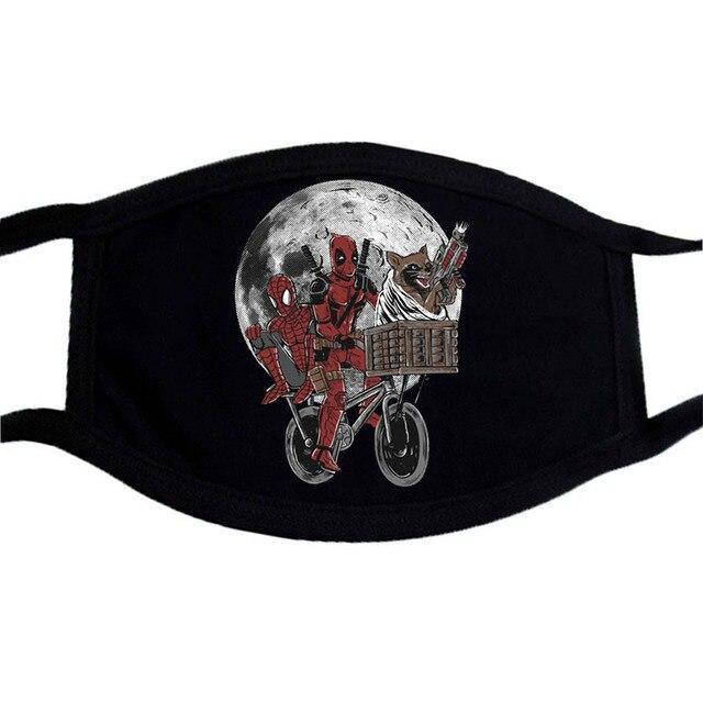 Cartoon Iron Man Deadpool Mask  Superhero Mouth Muffle Black  Masks Dust Casual Keep Warm Black Mouth Mask Kpop Face Masks 2