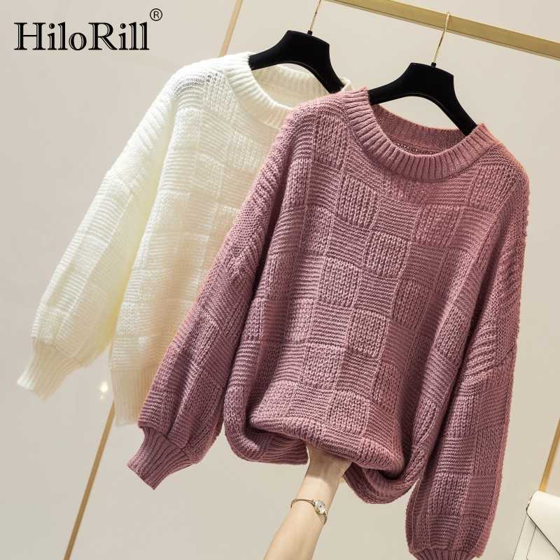 Pure Sweater Women Knit Autumn Winter Cashmere Pullover Sweater Casual Loose Round Neck Batwing Sleeve Solid Top Ladies Jumper