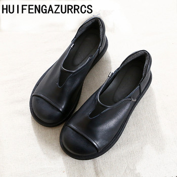 HUIFENGAZURRCS-Literature and Art Retro True Leather Round Head Thick Bottom Shoes Handmade Comfortable Shoes with Shallow Mouth