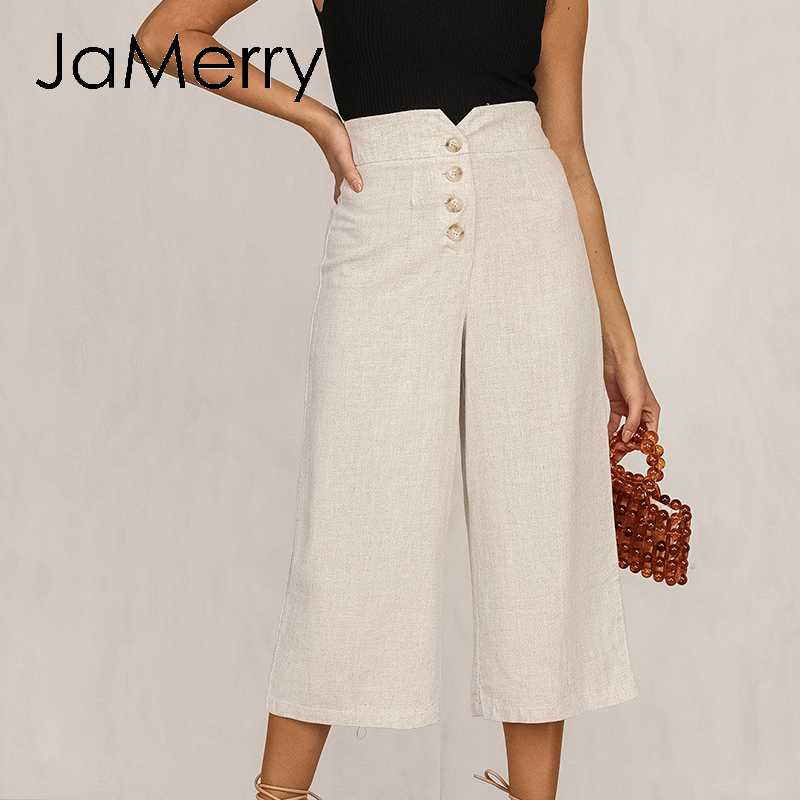 JaMerry High Waist Casual Women Pants Summer Spring Solid Trousers Wide Leg Work Wear Office Lady Ruffles Vintage Female Pants