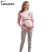 Пижама для кормящих подростков, ночная рубашка с длинным рукавом, ночная рубашка для беременных женщин, комплект одежды для грудного вскармливания, осенние пижамы для беременных