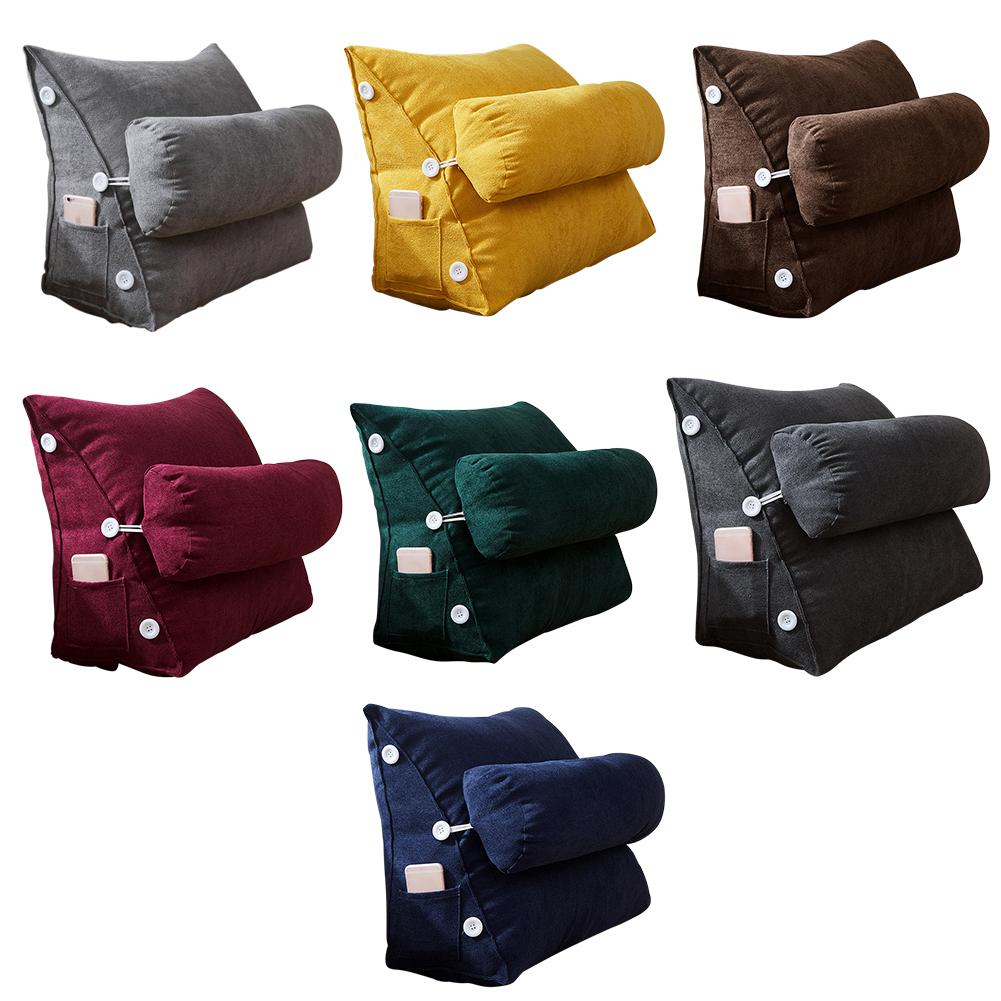 Nordic Bed Couch Chair Triangular Backrest Pillow Big Wedge Back Support Cushions Cotton Linen Bedside Lounger TV Reading Pillow