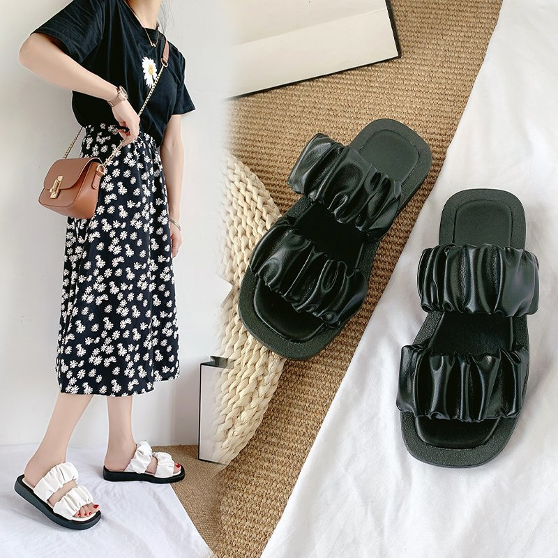 Thick bottom flat sandals 2020 summer new color matching wear slippers lace fold open toe sandals and slippers female Z894