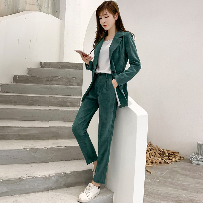 Autumn Winter Blazer Pants Suit Women Korean Chic Fashion Office Ladies Green Corduroy Casual High Waist Small Feet Pants Suit 49