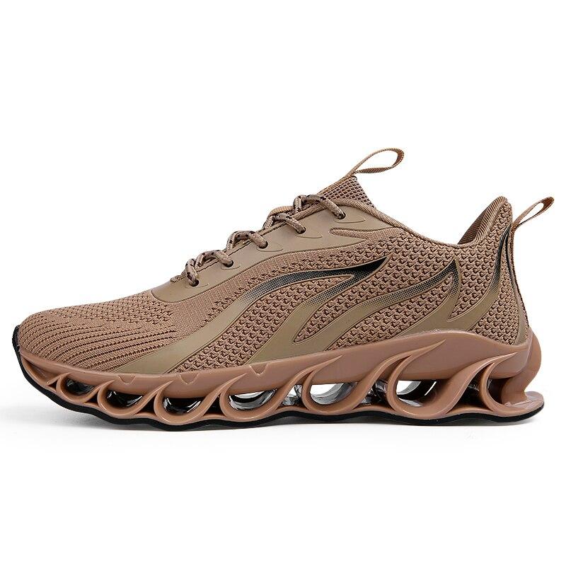 Новинка, мужские кроссовки для бега, бега, прогулок, спорта, высокое качество, на шнуровке, дышащие кроссовки - Цвет: A65Khaki