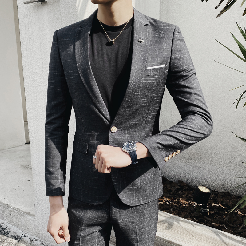 2020 Plaid Suits Check Business Traje De Boda Mens Suits Designers New Tuxedo Groom Dress Ternos Masculino Wedding Suits For Men