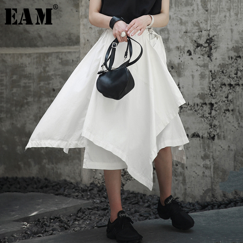 [EAM] High Elastic Waist Black Asymmetrical Hemline Half-body Skirt Black Women Fashion Tide New Spring Autumn 2020 1A734