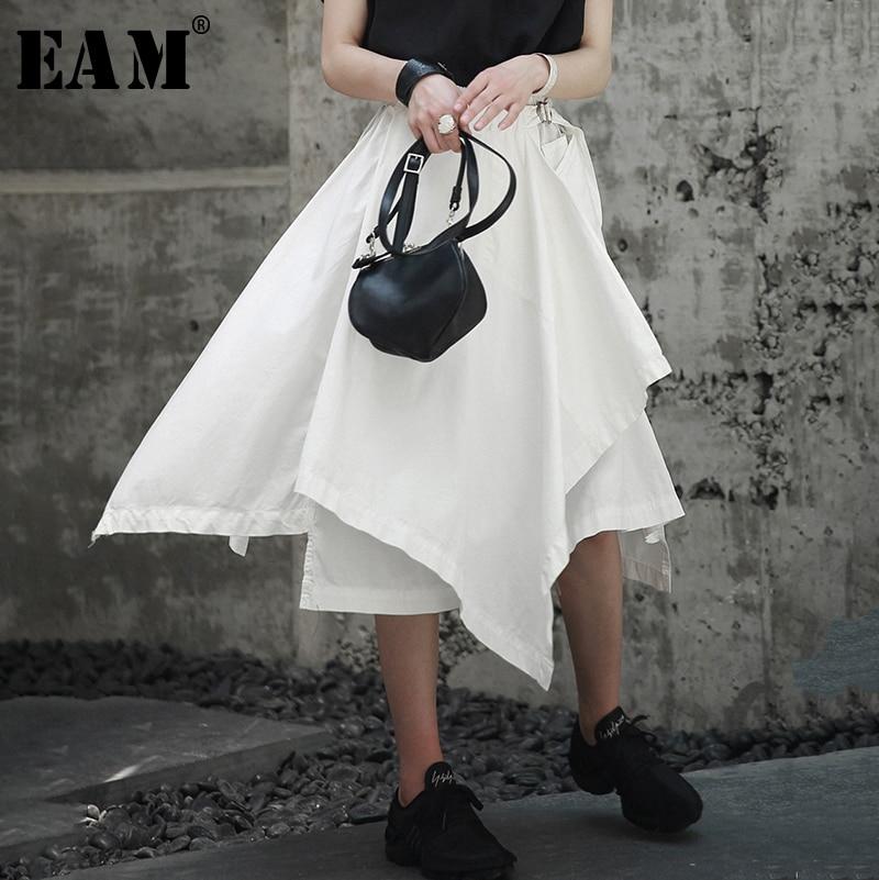 [EAM] High Elastic Waist Black Asymmetrical Hemline Half-body Skirt Black Women Fashion Tide New Spring Autumn 2020 1A734