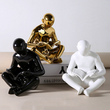 Nordic simple golden characters reading bookends creative home decor ornaments office study desktop decoration crafts gifts