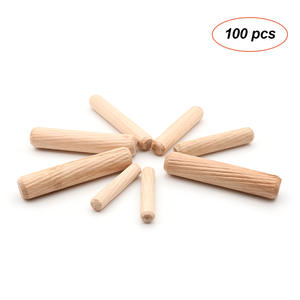 100pcs Wooden Dowel Cabinet Drawer Round Fluted Wood Craft Dowel Pins Rods Set Furniture Fitting wooden dowel pin
