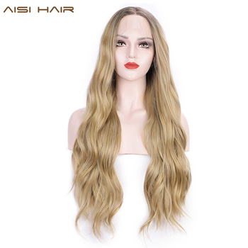 AISI HAIR Long Ombre Blonde Wavy Wig Lace Wigs for Women Synthetic Dark Brown Mixed Color Roots Wig for Daily Party Hair цена 2017