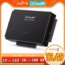 Qgeem sata usb 3.0 ideアダプタUSB2.0 2.5 3.5 sata ideハードディスクドライブ用のsataケーブルアダプタusb c otg hdd ssd usb変換