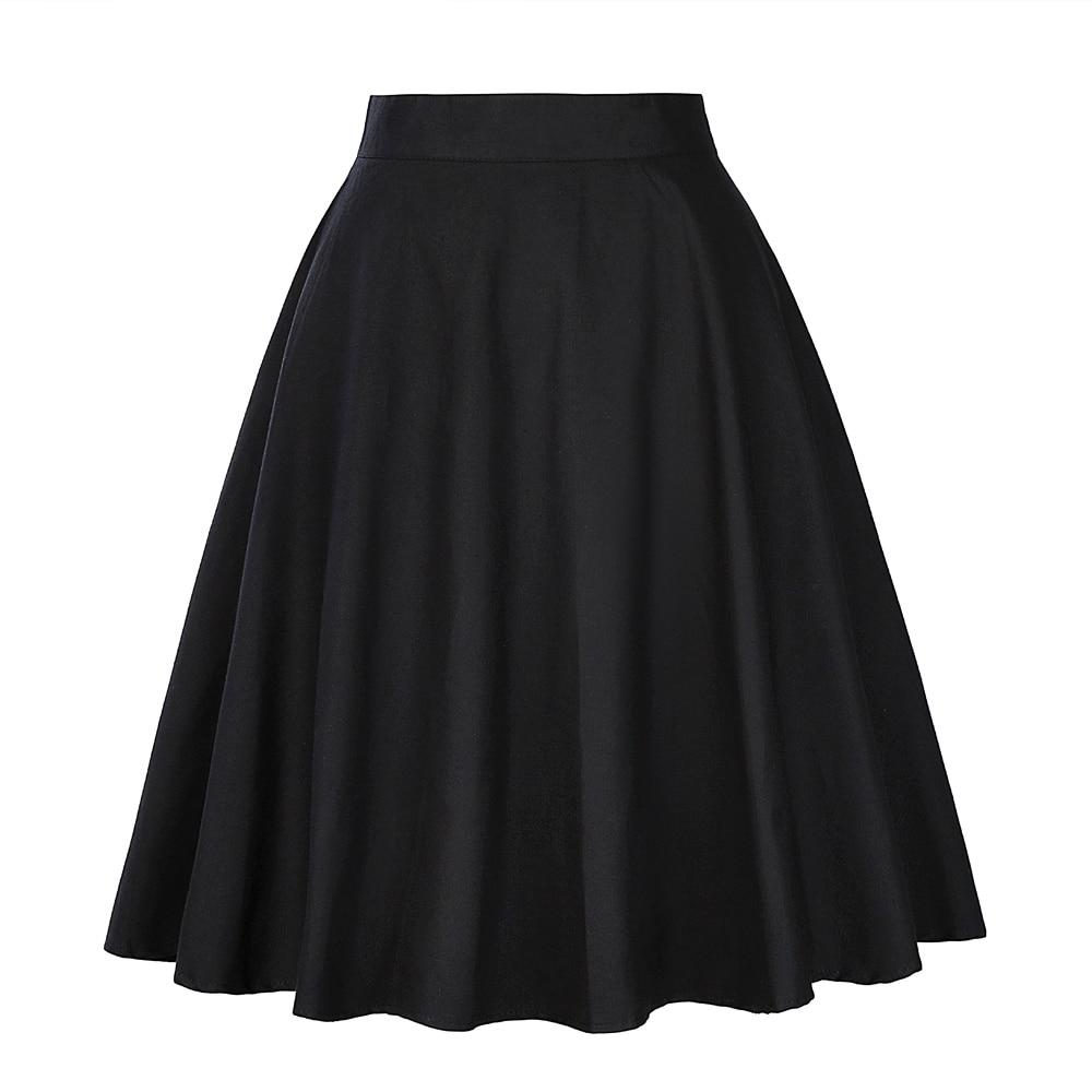 2020 Summer Black Skirt A-line Short Flare Skirts Womens Knee Length 40s 50s 60s Vintage High Waist School Cotton Women Skirt