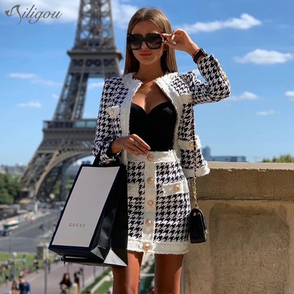 Ailigou 2019 Winter New Women'S Houndstooth Tweed 2 Sets Of Sexy Long-Sleeved Round Neck Button Coat + Skirt Vestidos Party Suit