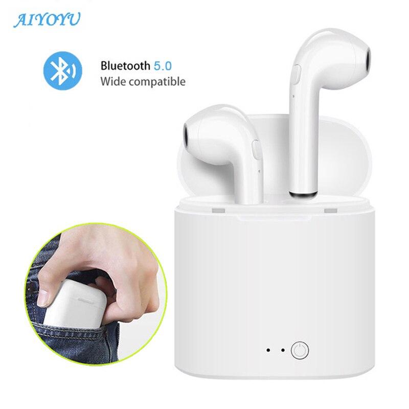 Bluetooth Earphone Earbud-Headset Mic Charging-Box Huawei Xiaomi I7s Tws Mini Wireless